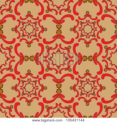 Ornamental Seamless Pattern. Vintage Template. Orange Background With Red Curve Elements.filigree