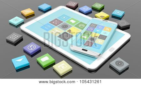 Smartphone and tablet with apps in shape of beveled square, isolated on black