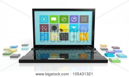 Laptop with beveled square apps, isolated on white background.