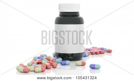 Colorful caplets and bottle with blank label, isolated on white background.