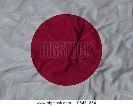 Closeup of ruffled Japan flag