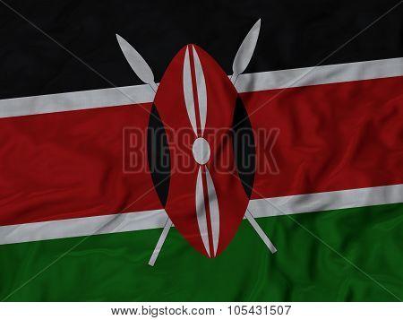 Closeup of ruffled Kenya flag