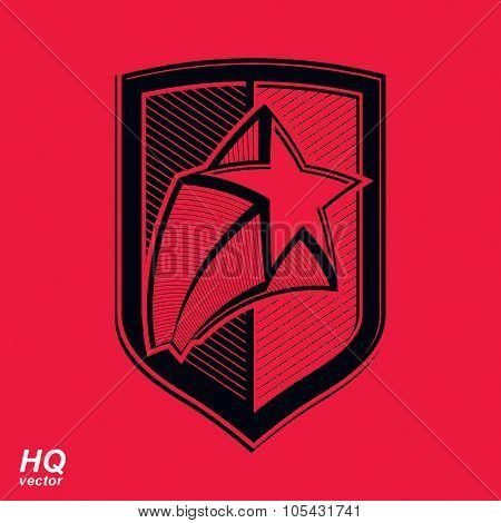 Vector Military Shield With Pentagonal Comet Star, Protection Heraldic Sheriff Blazon.