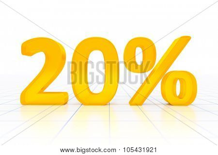 A 20 percent sign in a white background
