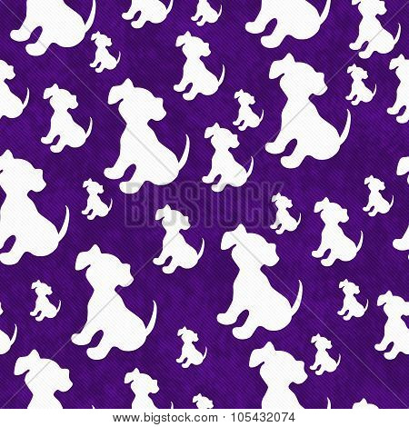 Purple And White Puppy Dog Tile Pattern Repeat Background