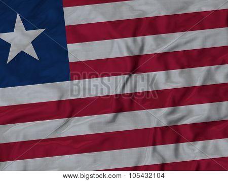 Closeup of ruffled Liberia flag