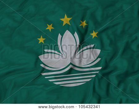 Closeup of ruffled Macau flag