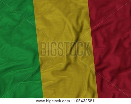 Closeup of ruffled Mali flag