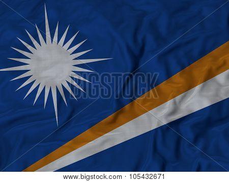 Closeup of ruffled Marshall Islands flag