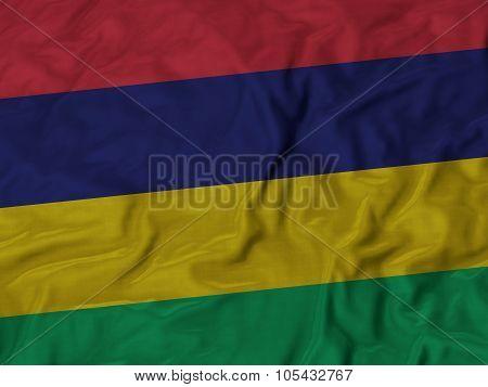 Closeup of ruffled Mauritius flag