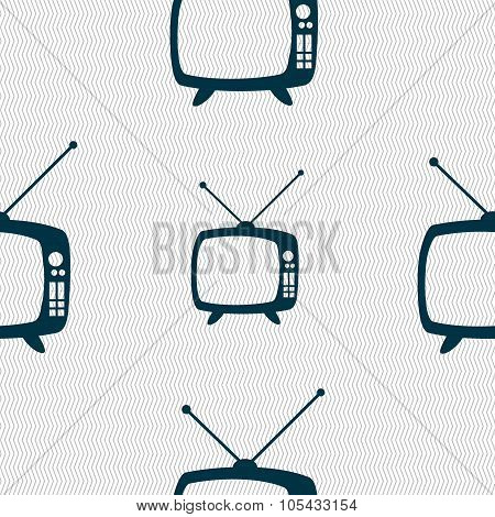 Retro Tv Mode Sign Icon. Television Set Symbol. Seamless Abstract Background With Geometric