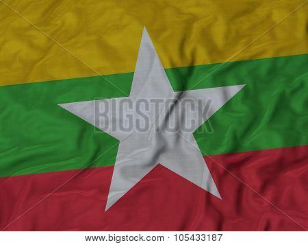 Closeup of ruffled Myanmar flag