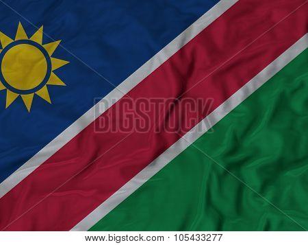 Closeup of ruffled Namibia flag