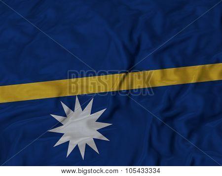 Closeup of ruffled Nauru flag