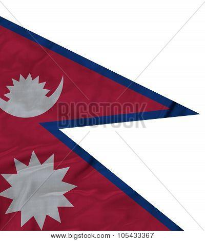 Closeup of ruffled Nepal flag