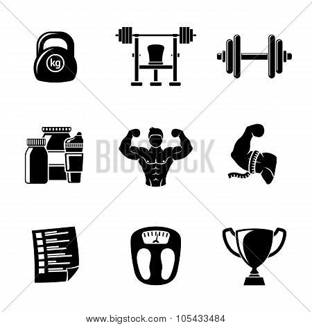 Set of Bodybuilding icons with - dumbbell, weight, bodybuilder, scales, gainer, shaker, measuring, b
