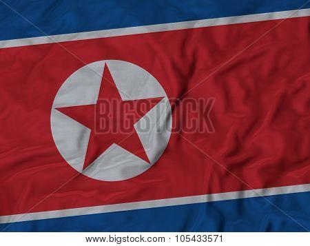 Closeup of ruffled North Korea flag