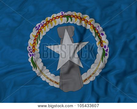Closeup of ruffled Northern_Mariana_Islands flag