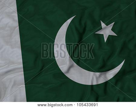 Closeup of ruffled Pakistan flag