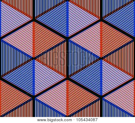 Orange Abstract Interweave Geometric Seamless Pattern