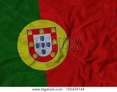 Closeup of ruffled Portugal flag