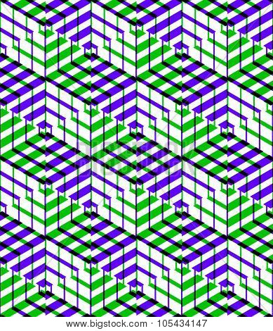 Bright Symmetric Seamless Pattern With Interweave shapes