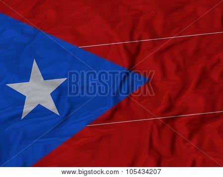 Closeup of ruffled Puerto Rico flag