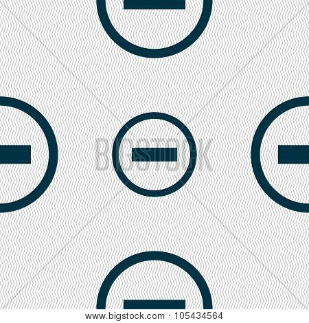 Minus Sign Icon. Negative Symbol. Zoom Out. Seamless Abstract Background With Geometric Shapes.