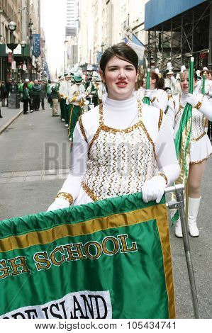 Majorette On Saint Patricks Day Parade
