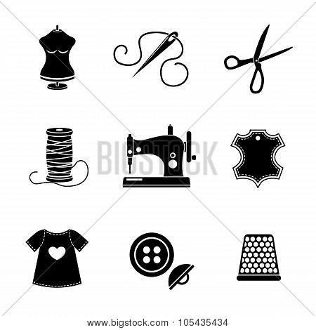 Set of sewing icons - machine, scissors, thread, leather tag, mannequin, needle, buttons, thimble, f