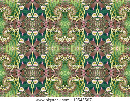 Flower Pattern In Fractal Design. Green And Pink Palette. Computer Generated Graphics.