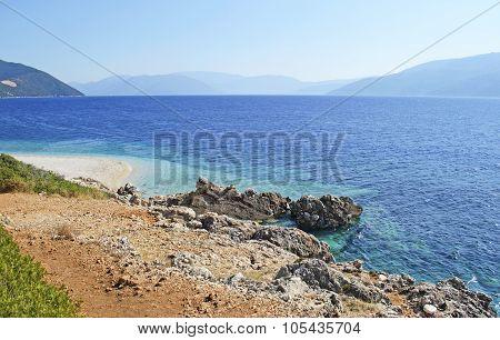 Aspros Gialos beach in Ithaca Greece