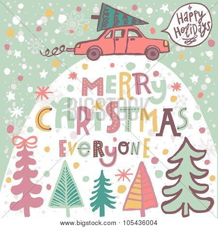 Merry Christmas everyone concept card in vector. Car with a Christmas tree under the snowfall in winter forest. Lovely cartoon background