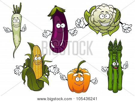 Cartoon organic farm vegetables characters