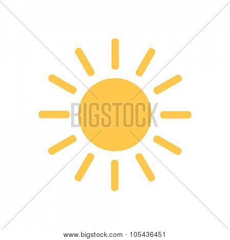Sunny Weather Icon. Yellow shine sun icon.