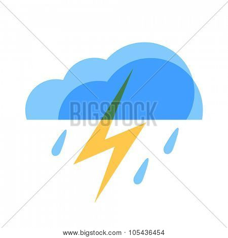 Lightning Weather Icon. Blue transparent clouds with yellow lightning and raindrops.