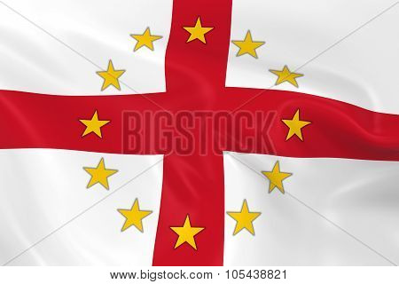 England Eu Member Concept Image - 3D Render Of A Waving English Flag With European Union Stars