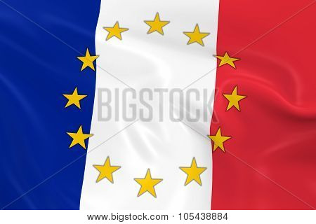 France Eu Member Concept Image - 3D Render Of A Waving French Flag With European Union Stars