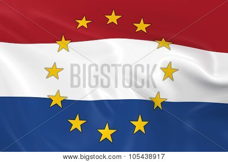 Netherlands Eu Member Concept Image - 3D Render Of A Waving Dutch Flag With European Union Stars