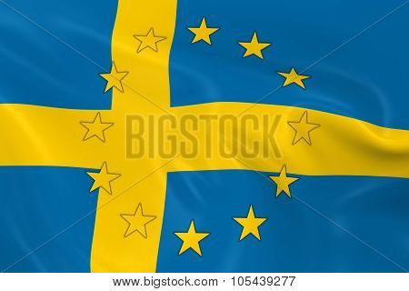 Sweden Eu Member Concept Image - 3D Render Of A Waving Swedish Flag With European Union Stars