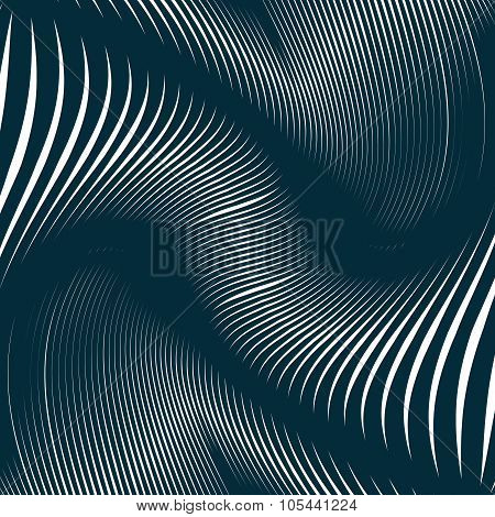 Moire Pattern, Op Art Background. Relaxing Hypnotic Backdrop With Geometric Black Lines. Abstract Ve