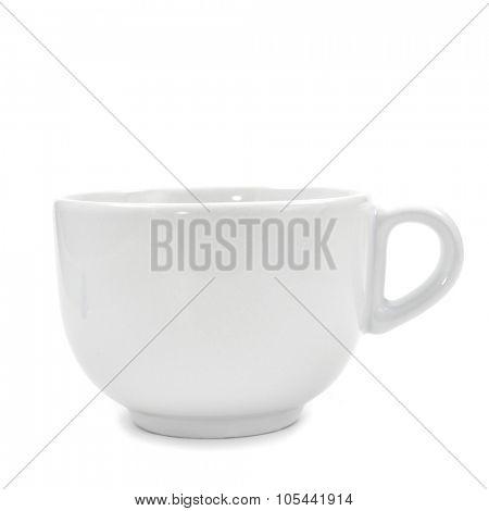 a white ceramic mug on a white background