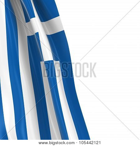 Hanging Flag Of Greece - 3D Render Of The Greek Flag Draped Over White Background With Copyspace For