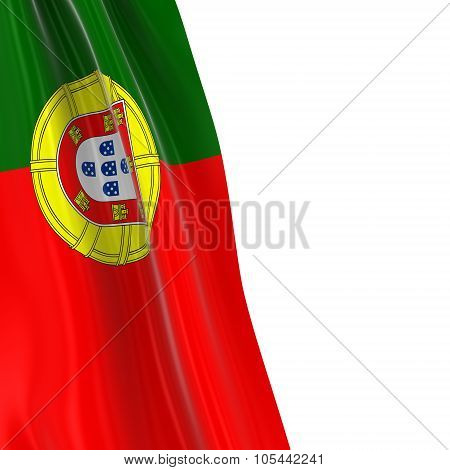 Hanging Flag Of Portugal - 3D Render Of The Portuguese Flag Draped Over White Background With Copysp