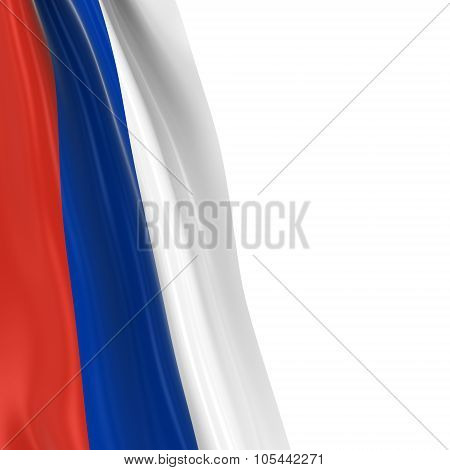 Hanging Flag Of Russia - 3D Render Of The Russian Flag Draped Over White Background With Copyspace F