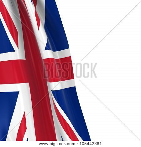 Hanging Flag Of The United Kingdom - 3D Render Of The Union Jack Flag Draped Over White Background