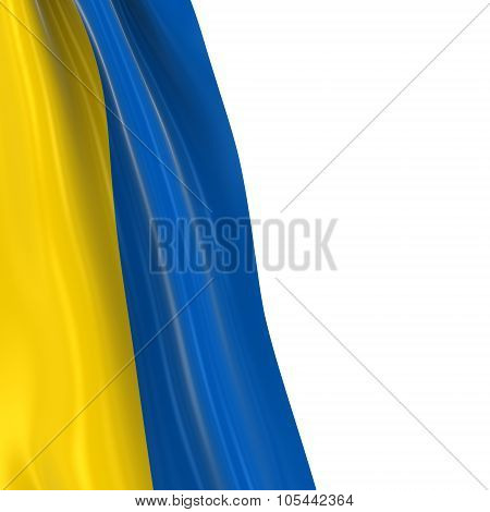 Hanging Flag Of Ukraine - 3D Render Of The Ukrainian Flag Draped Over White Background With Copyspac