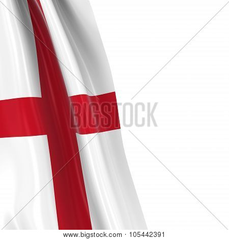 Hanging Flag Of England - 3D Render Of The English Flag Draped Over White Background With Copyspace