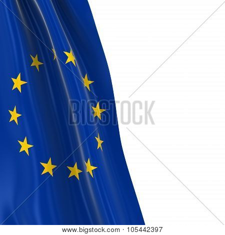 Hanging Flag Of The European Union - 3D Render Of The Eu Flag Draped Over White Background With Copy