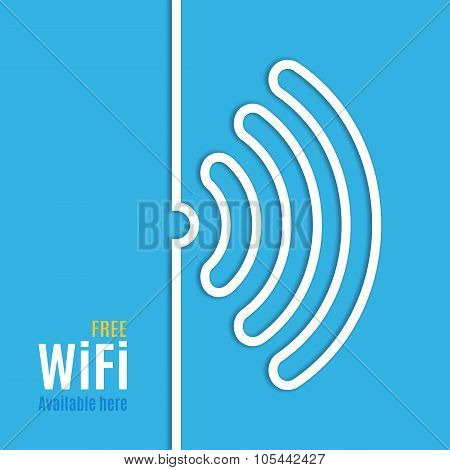 WiFi icon on blue background. Vector illustration